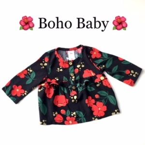 Carters Boho Baby Girl Red Poppies Flowy Top sz 3m